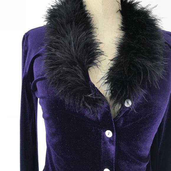 27842687d0e Oasis Tops   Vintage Velvet Ostrich Feather Top Purple Sz   Poshmark